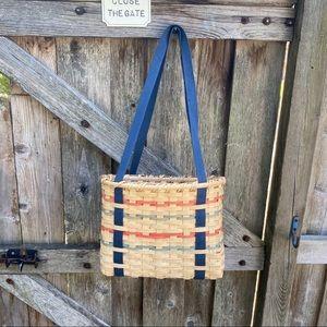 Woven farmers market basket bag